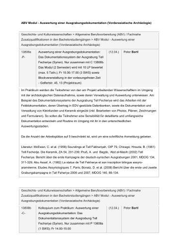 ABV Modul - Auswertung einer Ausgrabungsdokumentation ...