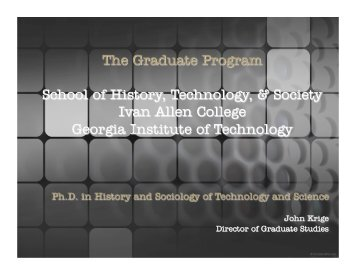 a brief overview of the graduate program. - School of History ...