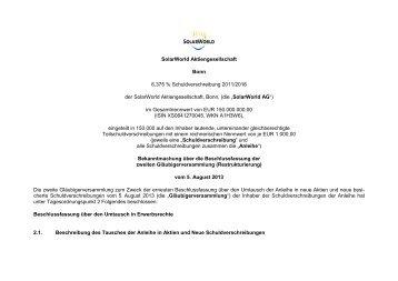 Bekanntmachung über die Beschlussfassung der ... - SolarWorld AG