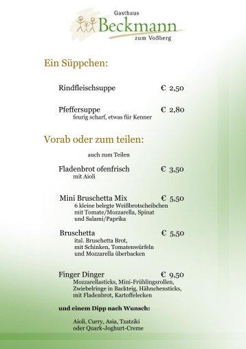 Ein Süppchen: Vorab oder zum teilen: - Gasthaus Beckmann