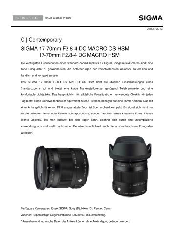 C   Contemporary SIGMA 17-70mm F2.8-4 DC MACRO OS ... - Saturn