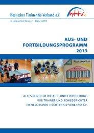 Aus- und FortbildungsprogrAmm 2013 - Hessischer ...