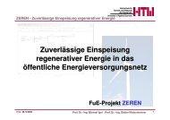 ZEREN - Zuverlässige Einspeisung regenerativer Energie - an der ...