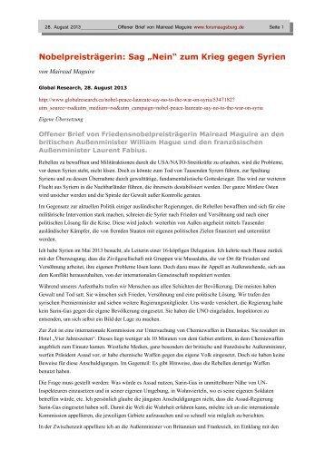 """Nobelpreisträgerin: Sag """"Nein"""" zum Krieg gegen Syrien - www ..."""