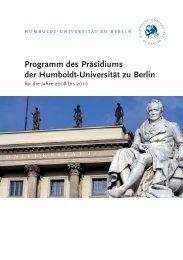 Programm des Präsidiums der Humboldt-Universität zu Berlin