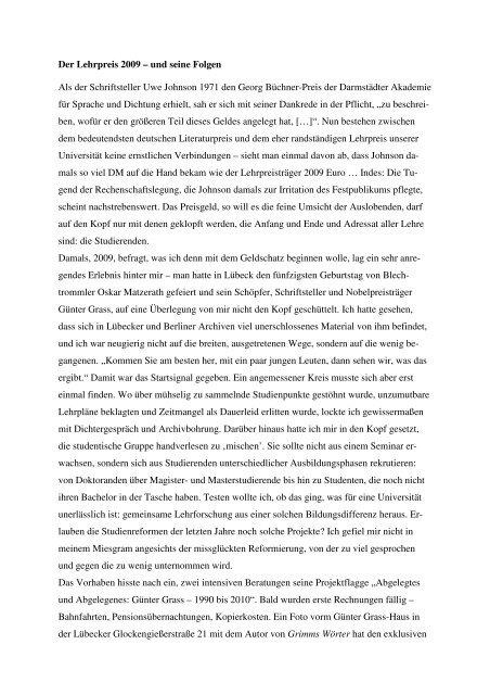 Erfahrungen Roland Berbigs als Preisträger - Humboldt-Universität ...