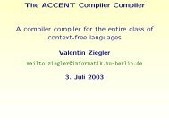 The ACCENT Compiler Compiler A compiler compiler for ... - HU Berlin