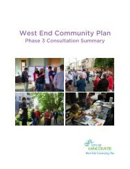 Consultation summary - West End community plan - City of Vancouver