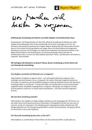 im Interview mit Heike Stephan - Regens Wagner Absberg
