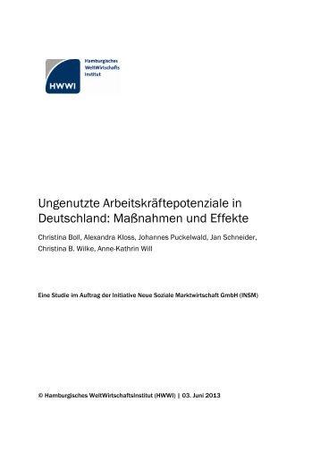 Ungenutzte Arbeitskräftepotenziale in Deutschland ... - HWWI