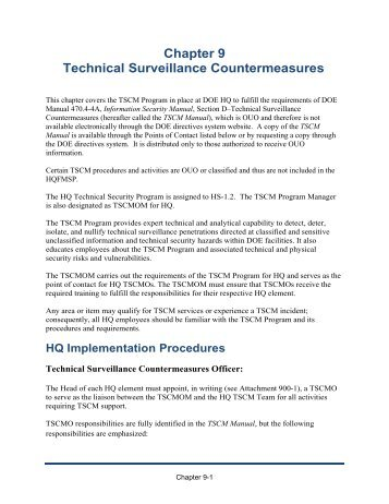 HQFMSP Chapter 9, Technical Surveillance Countermeasures