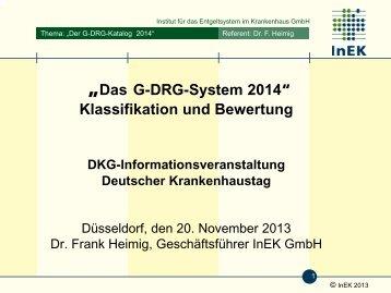 Entwicklkung des G-DRG-Kataloges für das Jahr 2014