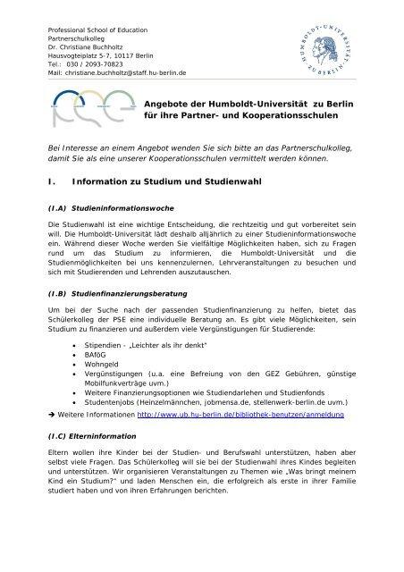 Angebote der HU für Kooperations - Humboldt-Universität zu Berlin