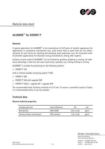 Material data sheet ALUMIDE® for EOSINT P