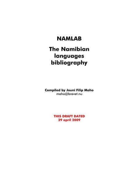 Namlab The Namibian Languages Bibliography Glocalnetnet