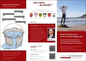 """Flyer: """"Mensch Unternehmer"""" - stemmer-marketing.de"""