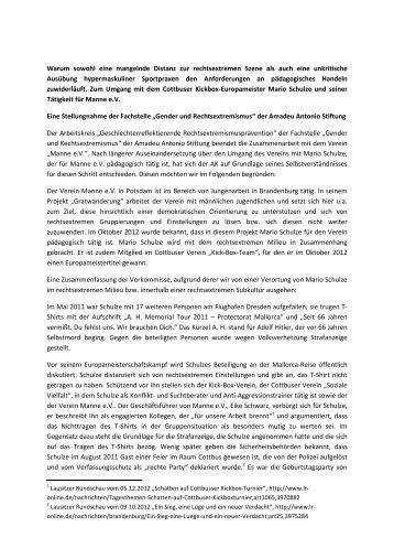 """Stellungnahme der Fachstelle """"Gender und Rechtsextremismus"""""""