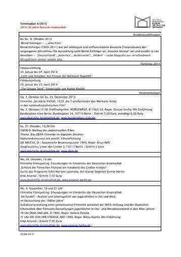 Terminplan 4/2013 Sonderausstellungen Bis So, 6. Oktober 2013 ...