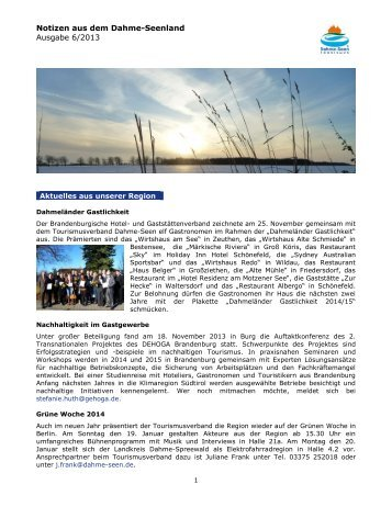 Newsletter Dezember 2013 - Tourismusverband Dahme-Seen eV