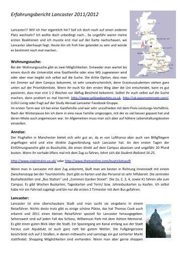 Erfahrungsbericht Lancaster 2011/2012