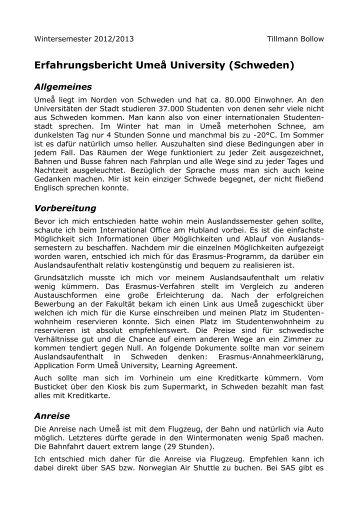 Erfahrungsbericht Umeå University (Schweden)