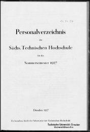 Personalverzeichnis Sommersemester 1927