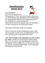 Messdienerplan Herbst 2012 - Messdiener St. Peter und Laurentius