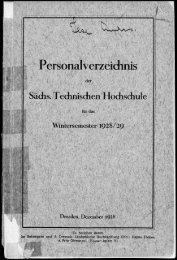 Personalverzeichnis Wintersemester 1928/29