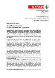 """SPAR-Markt Huber mit """"Goldener Tanne 2013"""" prämiert"""