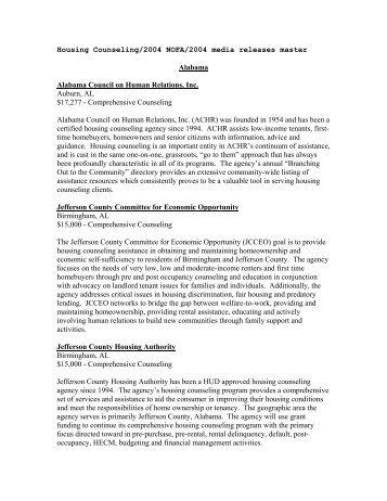 Alabama Alabama Council On Human Relations, Inc. Auburn - HUD