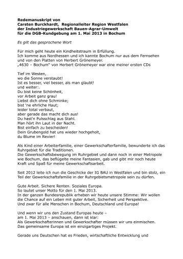 Die Rede im Wortlaut - Bewegung in Bochum