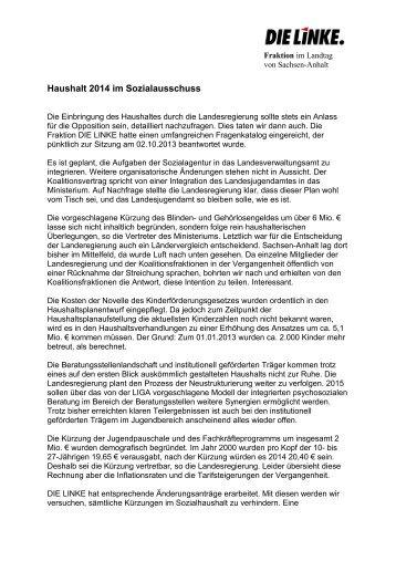 Haushalt 2014 im Sozialausschuss - Die Linke. - Landtagsfraktion ...