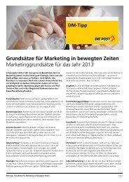DM-Tipp: Grundsätze für Marketing in bewegten Zeiten - Die Post