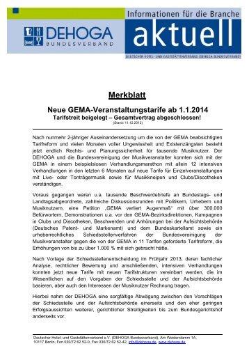 "Merkblatt ""Neue GEMA-Tarife"" - DEHOGA Niedersachsen"