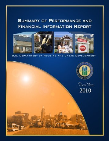 Summary of Performance and Financial Information Report - HUD