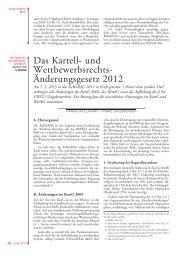 Das Kartell- und Wettbewerbsrechts- Änderungsgesetz 2012 - Manz