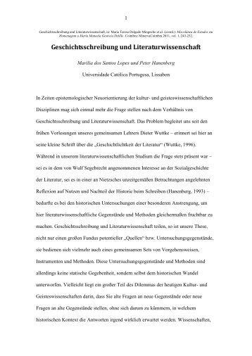 Geschichtsschreibung und Literaturwissenschaft