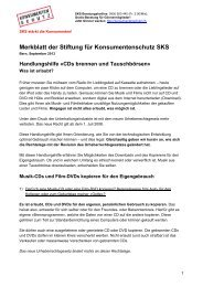 Das Merkblatt der SKS zum Thema Musik-/Filmdownload