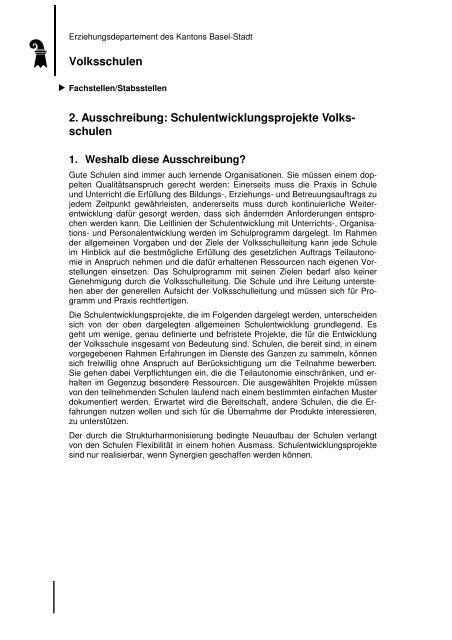 Ausschreibung SE-Projekte VS 2013 - Erziehungsdepartement