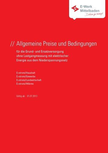 Allgemeine Preise und Bedingungen für die Grund - E-Werk ...