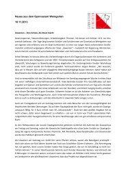 Neues aus dem Gymnasium Weingarten 18.11.2013