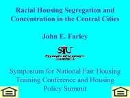 Racial Housing Segregation and Concentration in the Central ... - HUD