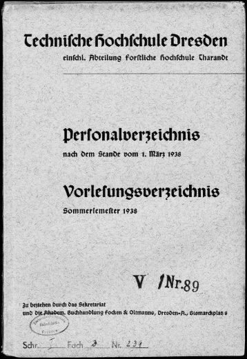 Personal- und Vorlesungsverzeichnis Sommersemester 1938