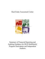 Real Estate Assessment Center Summary of Financial ... - HUD
