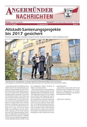 Altstadt-Sanierungsprojekte bis 2017 gesichert - Angermünde