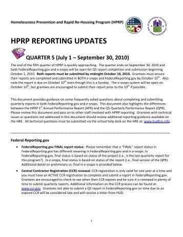 HPRP Reporting Updates - OneCPD