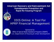 IDIS Online: A Tool for HPRP Financial Management - OneCPD