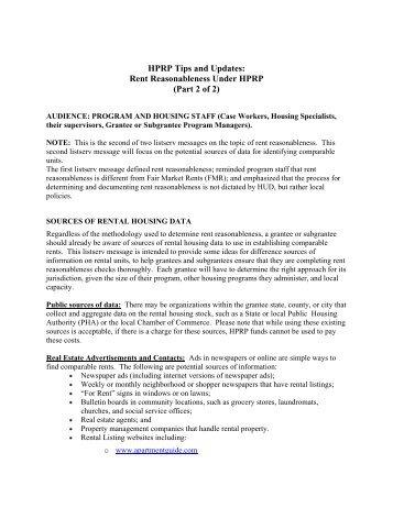 Rent Reasonableness Under HPRP - OneCPD