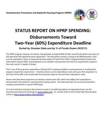 STATUS REPORT ON HPRP SPENDING: Disbursements ... - OneCPD