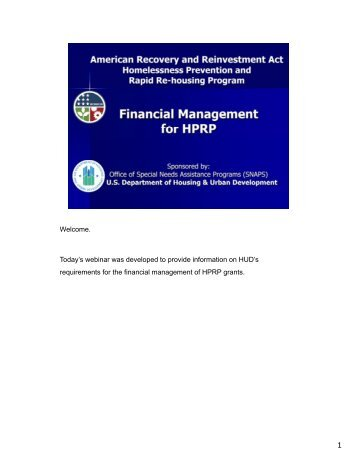 HPRP Financial Management Webinar - OneCPD